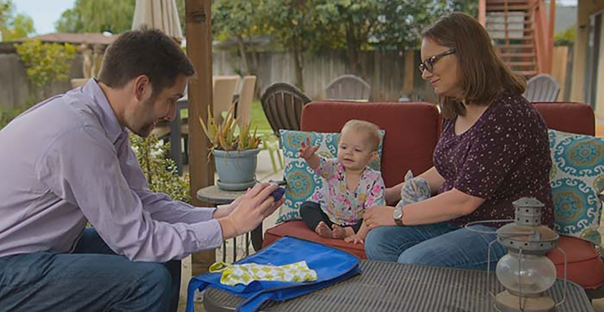 Professor Eric Walle with Penelope and her mom, Jessica Mohatt, in a scene from the new Netflix docu-series